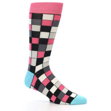 Image of Bright Pink Grey Black Checkered Men's Dress Socks (side-1-25)