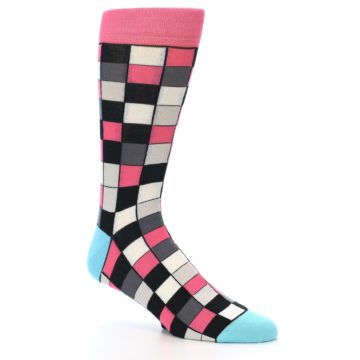 Image of Bright Pink Grey Black Checkered Men's Dress Socks (side-1-26)