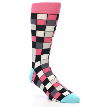 Image of Bright Pink Grey Black Checkered Men's Dress Socks (side-1-27)
