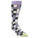 Image of Orchid Purple Greys Checkered Men's Dress Socks (side-1-front-01)