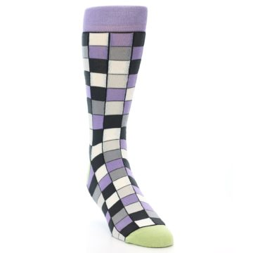 Image of Orchid Purple Greys Checkered Men's Dress Socks (side-1-front-02)