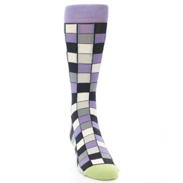Image of Orchid Purple Greys Checkered Men's Dress Socks (side-1-front-03)