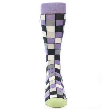Image of Orchid Purple Greys Checkered Men's Dress Socks (front-04)