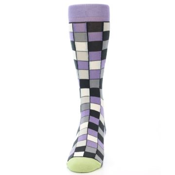 Image of Orchid Purple Greys Checkered Men's Dress Socks (front-05)