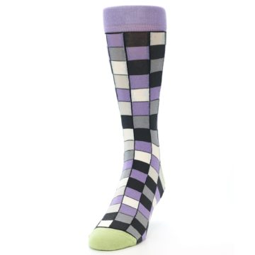 Image of Orchid Purple Greys Checkered Men's Dress Socks (side-2-front-06)