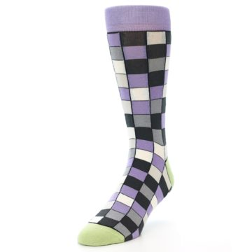 Image of Orchid Purple Greys Checkered Men's Dress Socks (side-2-front-07)