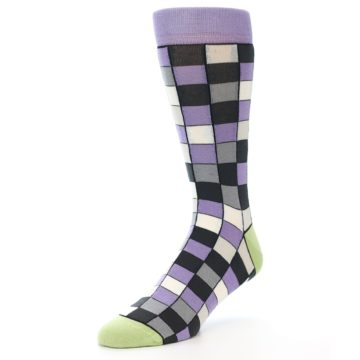 Image of Orchid Purple Greys Checkered Men's Dress Socks (side-2-front-08)