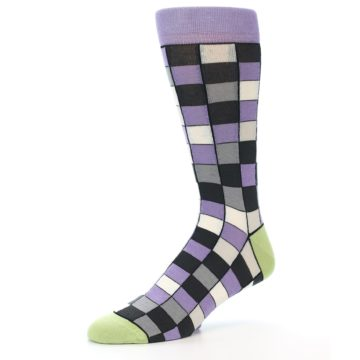 Image of Orchid Purple Greys Checkered Men's Dress Socks (side-2-09)