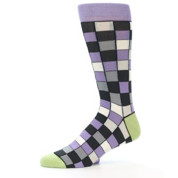 Image of Orchid Purple Greys Checkered Men's Dress Socks (side-2-10)