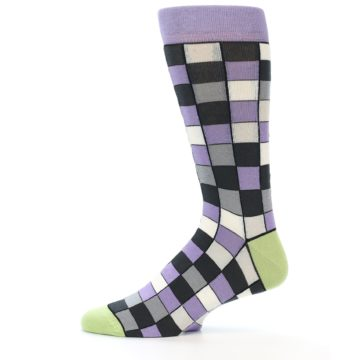 Image of Orchid Purple Greys Checkered Men's Dress Socks (side-2-11)