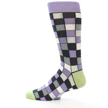 Image of Orchid Purple Greys Checkered Men's Dress Socks (side-2-12)