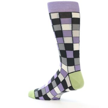 Image of Orchid Purple Greys Checkered Men's Dress Socks (side-2-13)