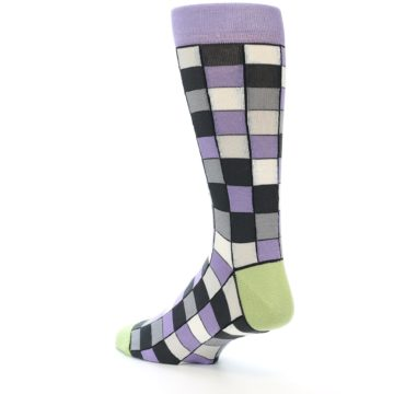 Image of Orchid Purple Greys Checkered Men's Dress Socks (side-2-back-14)