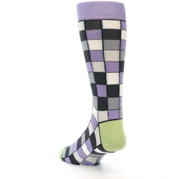 Image of Orchid Purple Greys Checkered Men's Dress Socks (side-2-back-15)