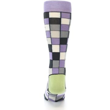 Image of Orchid Purple Greys Checkered Men's Dress Socks (back-17)