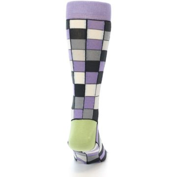 Image of Orchid Purple Greys Checkered Men's Dress Socks (back-18)