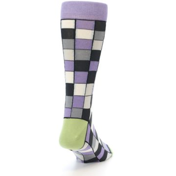 Image of Orchid Purple Greys Checkered Men's Dress Socks (back-19)
