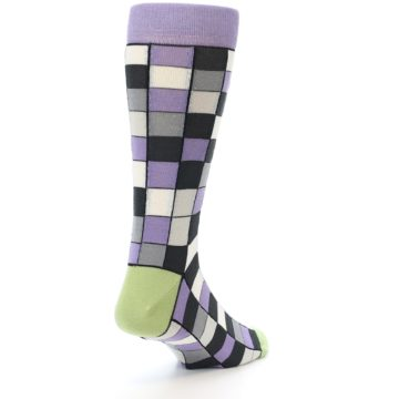 Image of Orchid Purple Greys Checkered Men's Dress Socks (side-1-back-20)