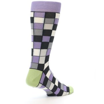 Image of Orchid Purple Greys Checkered Men's Dress Socks (side-1-back-21)
