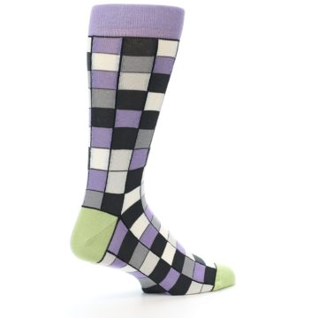 Image of Orchid Purple Greys Checkered Men's Dress Socks (side-1-back-22)
