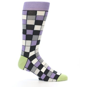 Image of Orchid Purple Greys Checkered Men's Dress Socks (side-1-24)