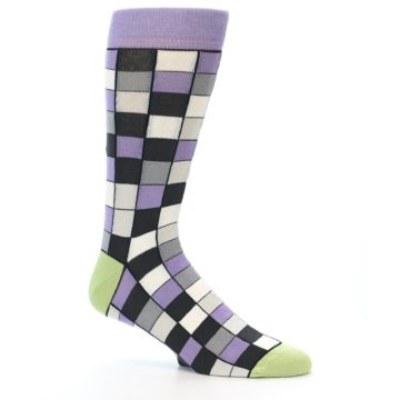 Image of Orchid Purple Greys Checkered Men's Dress Socks (side-1-25)