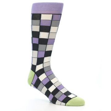 Image of Orchid Purple Greys Checkered Men's Dress Socks (side-1-26)