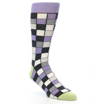 Image of Orchid Purple Greys Checkered Men's Dress Socks (side-1-27)