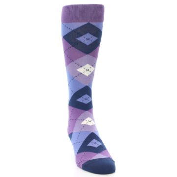 Image of Purples Blue Argyle Wedding Groomsmen Men's Dress Socks (side-1-front-03)