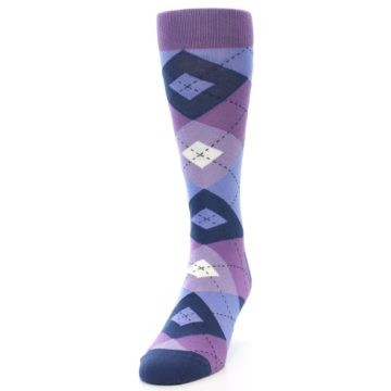 Image of Purples Blue Argyle Wedding Groomsmen Men's Dress Socks (side-2-front-06)