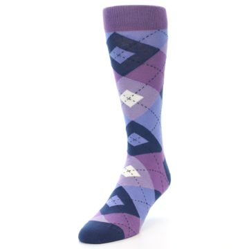 Image of Purples Blue Argyle Wedding Groomsmen Men's Dress Socks (side-2-front-07)