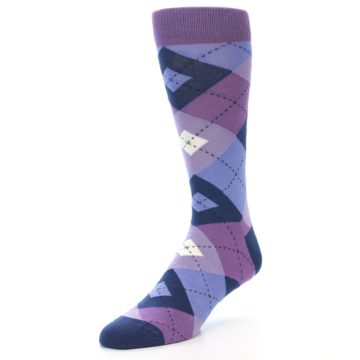 Image of Purples Blue Argyle Wedding Groomsmen Men's Dress Socks (side-2-front-08)