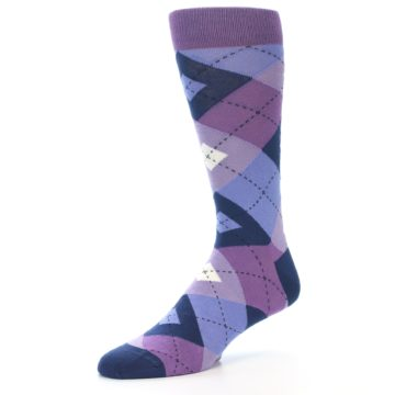 Image of Purples Blue Argyle Wedding Groomsmen Men's Dress Socks (side-2-09)