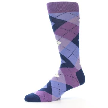 Image of Purples Blue Argyle Wedding Groomsmen Men's Dress Socks (side-2-10)