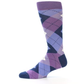 Image of Purples Blue Argyle Wedding Groomsmen Men's Dress Socks (side-2-11)