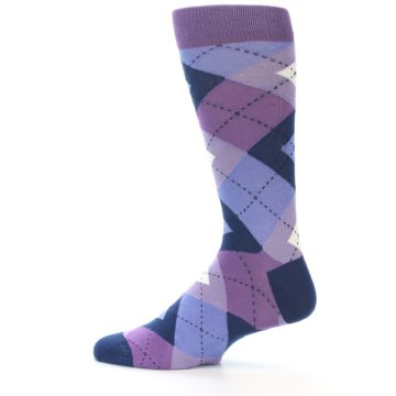 Image of Purples Blue Argyle Wedding Groomsmen Men's Dress Socks (side-2-12)