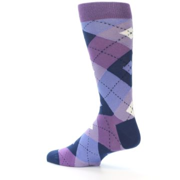 Image of Purples Blue Argyle Wedding Groomsmen Men's Dress Socks (side-2-13)