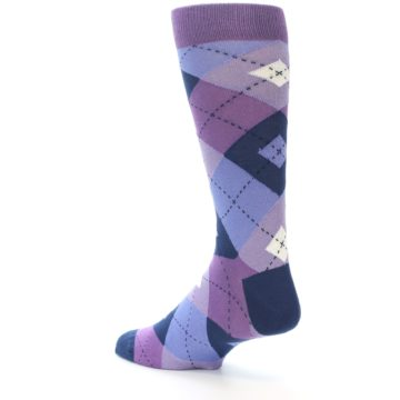 Image of Purples Blue Argyle Wedding Groomsmen Men's Dress Socks (side-2-back-14)