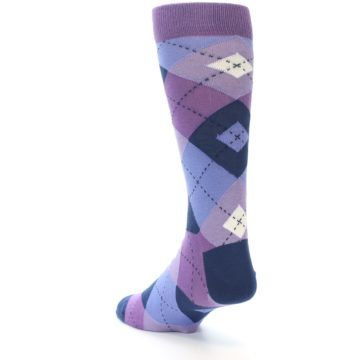Image of Purples Blue Argyle Wedding Groomsmen Men's Dress Socks (side-2-back-15)