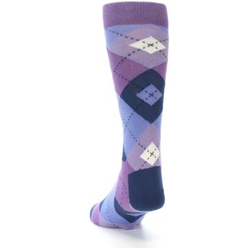 Image of Purples Blue Argyle Wedding Groomsmen Men's Dress Socks (side-2-back-16)