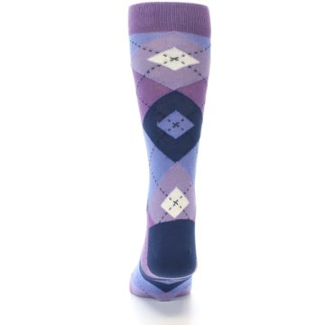 Image of Purples Blue Argyle Wedding Groomsmen Men's Dress Socks (back-17)