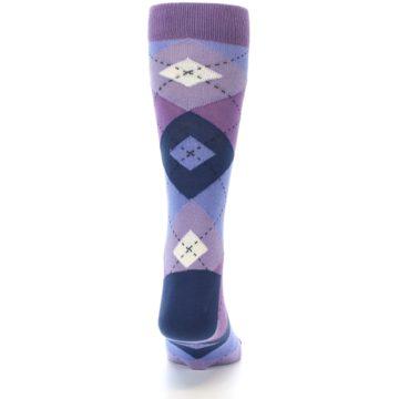 Image of Purples Blue Argyle Wedding Groomsmen Men's Dress Socks (back-18)