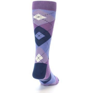 Image of Purples Blue Argyle Wedding Groomsmen Men's Dress Socks (back-19)