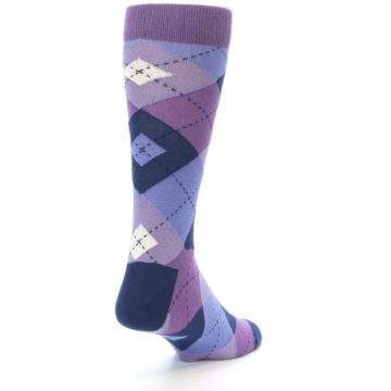 Image of Purples Blue Argyle Wedding Groomsmen Men's Dress Socks (side-1-back-20)