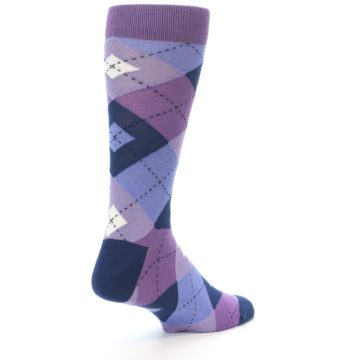Image of Purples Blue Argyle Wedding Groomsmen Men's Dress Socks (side-1-back-21)