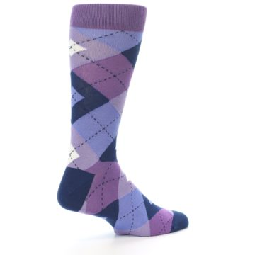 Image of Purples Blue Argyle Wedding Groomsmen Men's Dress Socks (side-1-back-22)