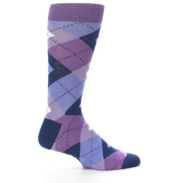 Image of Purples Blue Argyle Wedding Groomsmen Men's Dress Socks (side-1-23)