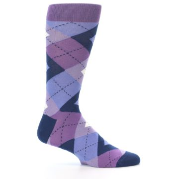 Image of Purples Blue Argyle Wedding Groomsmen Men's Dress Socks (side-1-24)