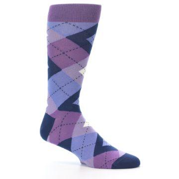 Image of Purples Blue Argyle Wedding Groomsmen Men's Dress Socks (side-1-25)