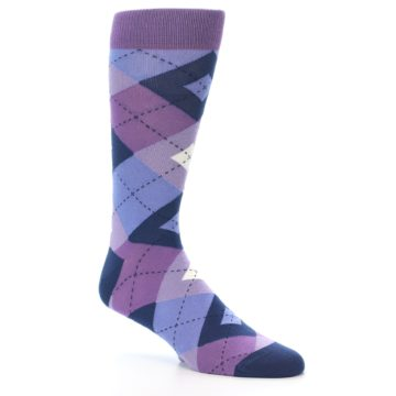 Image of Purples Blue Argyle Wedding Groomsmen Men's Dress Socks (side-1-26)